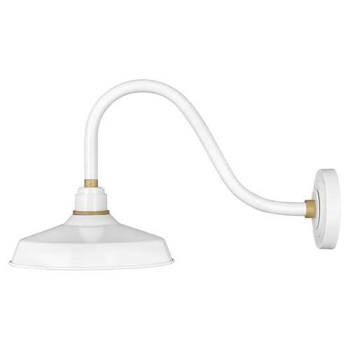 Hinkley Hinkley Foundry Gloss White / Brass Barn Light 10342GW