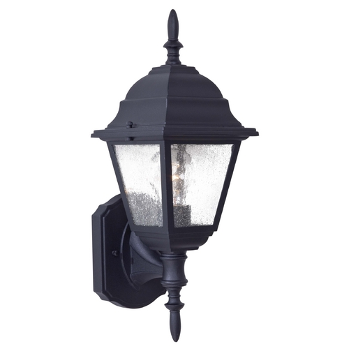 Minka Lavery Outdoor Wall Light with Clear Seeded Glass in Black Finish 9060-66
