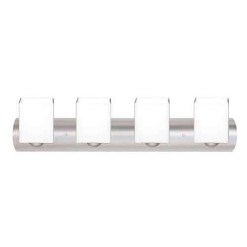 Besa Lighting Modern Bathroom Light with White Glass in Satin Nickel Finish 4WZ-449807-SN