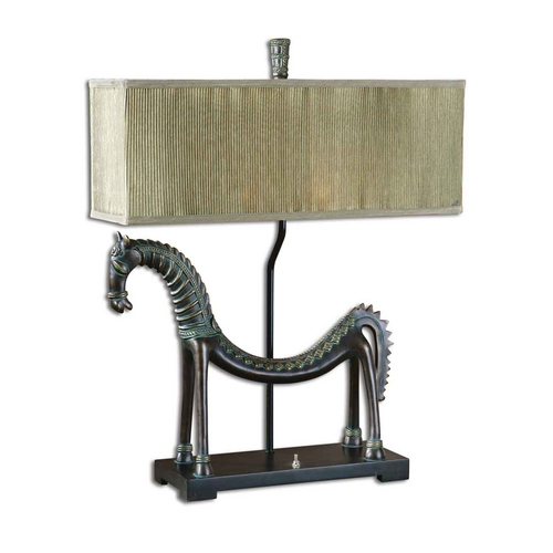 Uttermost Lighting Table Lamp with Beige / Cream Shades in Gold Leaf Finish 27907-1