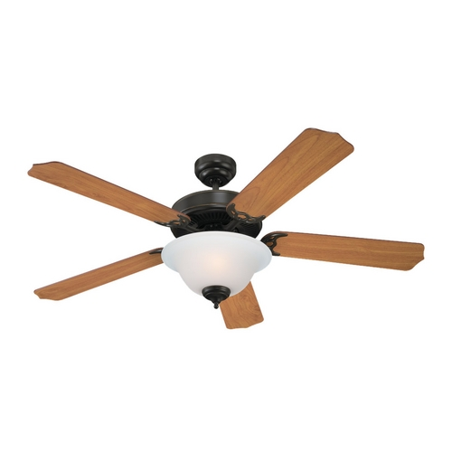 Sea Gull Lighting Ceiling Fan with Light with White Glass in Heirloom Bronze Finish 15030BLE-782