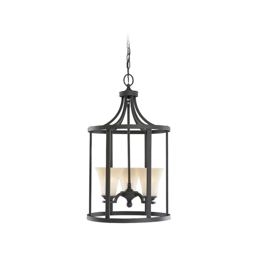 Sea Gull Lighting Pendant Light with Beige / Cream Glass in Blacksmith Finish 51375-839