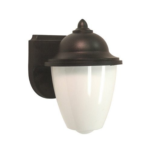 Sea Gull Lighting Outdoor Wall Light with White Glass in Black Finish 89018BLE-12