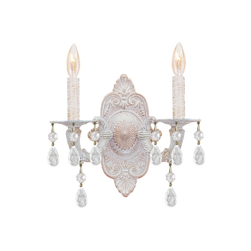 Crystorama Lighting Crystal Sconce Wall Light in Antique White Finish 5022-AW-CL-SAQ