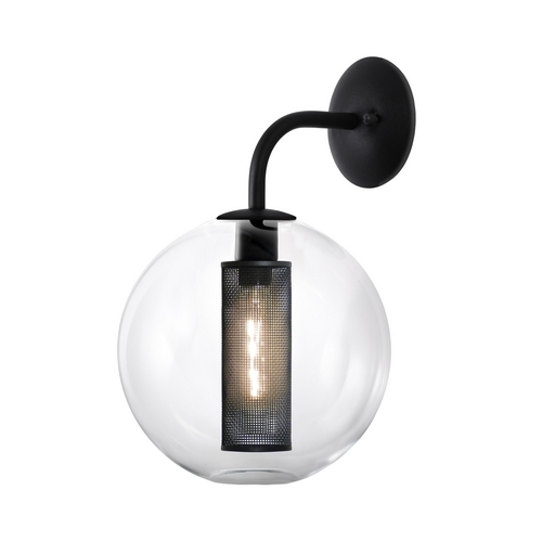 Sonneman Lighting Modern Sconce Wall Light with Clear Glass in Textured Black Finish 4931.97