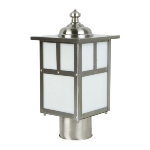 Craftmade Lighting Mission Style Post Light with White Glass in Stainless Steel Finish Z1845-56