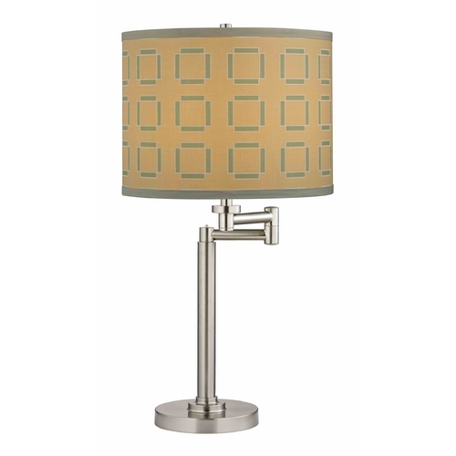 Design Classics Lighting Swing Arm Table Lamp with Tan and Turquoise Lamp Shade 1902-09 SH9545