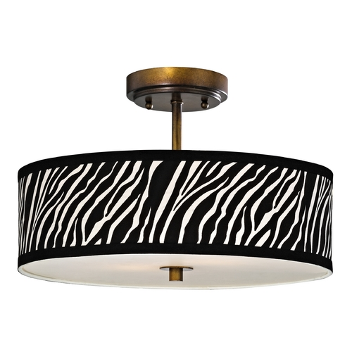 Design Classics Lighting Zebra Ceiling Light with Drum Shade in Bronze - 16-Inches Wide DCL 6543-604 SH9470