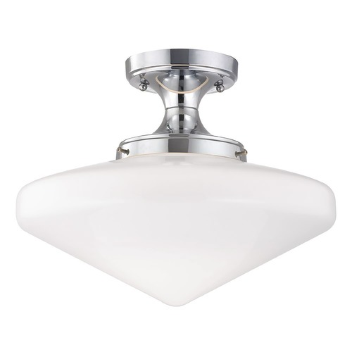 Design Classics Lighting Chrome Schoolhouse Ceiling Light with White Glass - 14-Inches Wide FES-26/ GE14