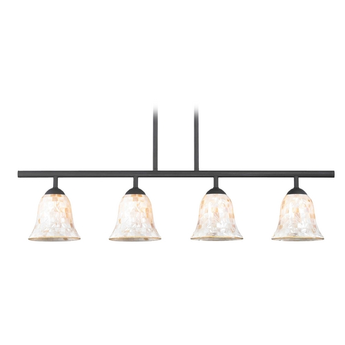 Design Classics Lighting Island Light with Beige / Cream Glass in Matte Black Finish 718-07 GL9222-M