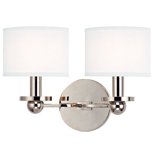 Hudson Valley Lighting Kirkwood 2 Light Sconce Drum Shade - Polished Nickel 1512-PN-WS