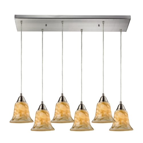 Elk Lighting Modern Multi-Light Pendant Light with Beige / Cream Glass and 6-Lights 31130/6RC-NG