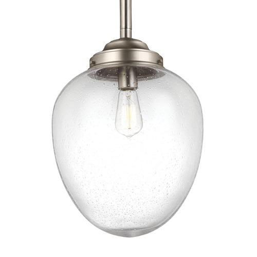 Feiss Lighting Feiss Alcott Satin Nickel Pendant Light with Oval Shade P1403SN