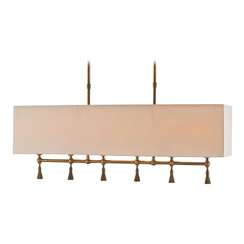 Currey and Company Lighting Currey and Company Churchill Antique Brass Island Light with Rectangle Shade 9800