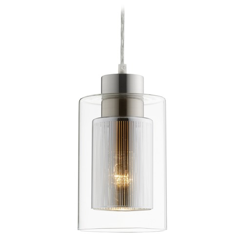 Quorum Lighting Quorum Lighting Signature Satin Nickel Mini-Pendant Light with Cylindrical Shade 882-3765