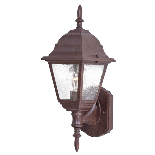 Minka Lavery Outdoor Wall Light with Clear Seeded Glass in Antique Bronze Finish 9060-91