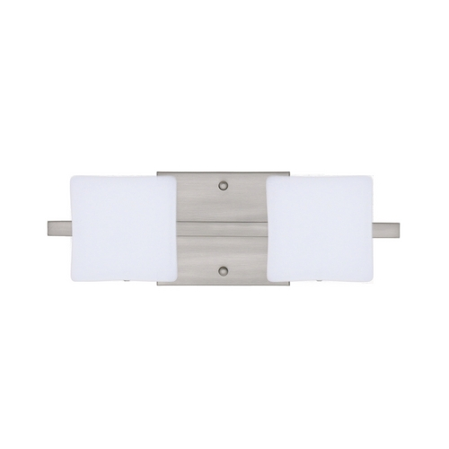 Besa Lighting Modern Bathroom Light with White Glass in Satin Nickel Finish 2WS-773507-SN
