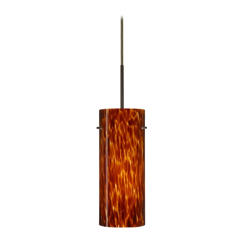 Besa Lighting Modern Pendant Light with Amber Glass in Bronze Finish 1JT-412318-BR