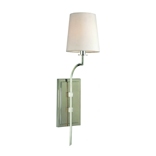 Hudson Valley Lighting Sconce Wall Light with White Shade in Polished Nickel Finish 3111-PN