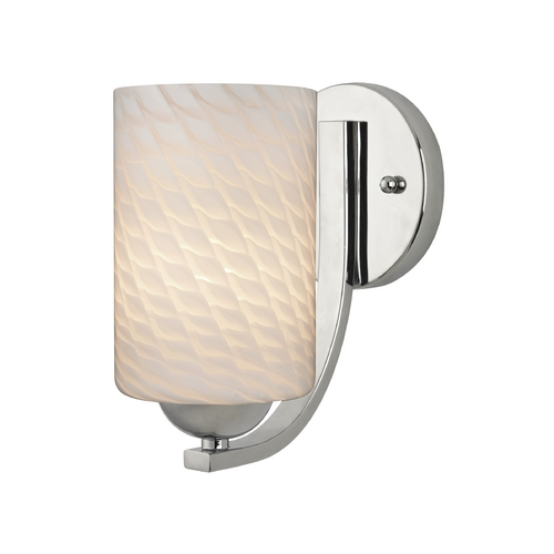 Design Classics Lighting Chrome Wall Light with White Art Glass Cylinder Shade 585-26 GL1020C