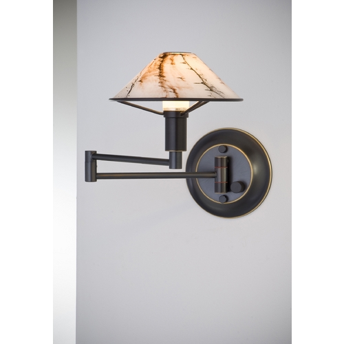 Holtkoetter Lighting Holtkoetter Modern Swing Arm Lamp with White Glass in Hand-Brushed Old Bronze Finish 9426 HBOB MRB