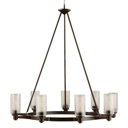Kichler Lighting Kichler Modern Chandelier Light with Clear Glass in Olde Bronze Finish 2346OZ