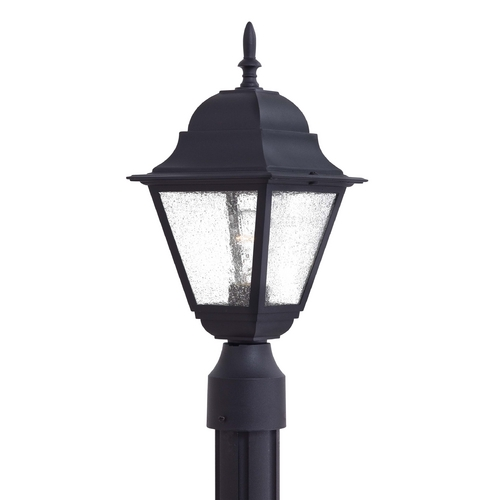Minka Lavery Post Light with Clear Seeded Glass in Black Finish 9066-66