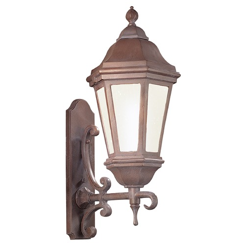 Troy Lighting Frosted Seeded Glass Outdoor Wall Light Bronze Patina Troy Lighting BFCD6831BZP
