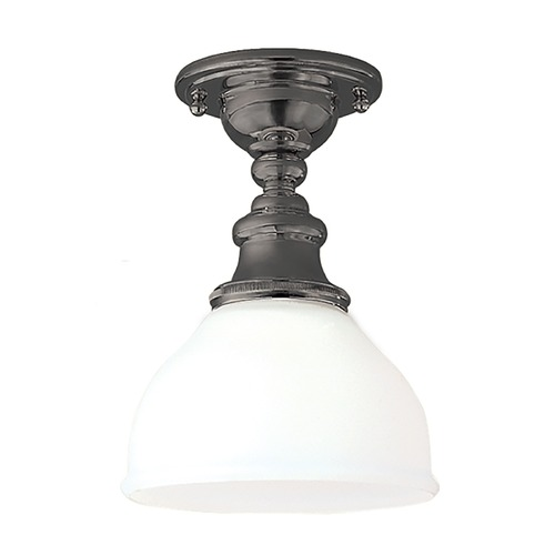Hudson Valley Lighting Semi-Flushmount Light with White Glass in Antique Nickel Finish 5911F-AN
