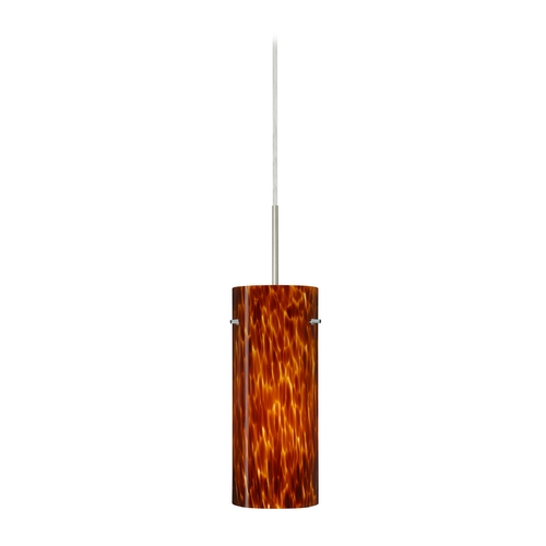 Besa Lighting Modern Pendant Light with Amber Glass in Satin Nickel Finish 1JT-412318-SN