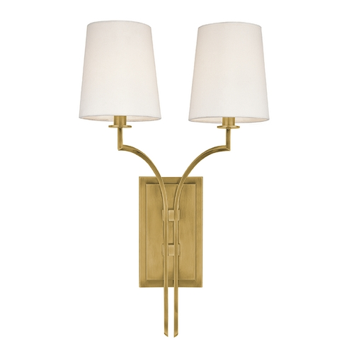 Hudson Valley Lighting Sconce Wall Light with White Shades in Aged Brass Finish 3112-AGB
