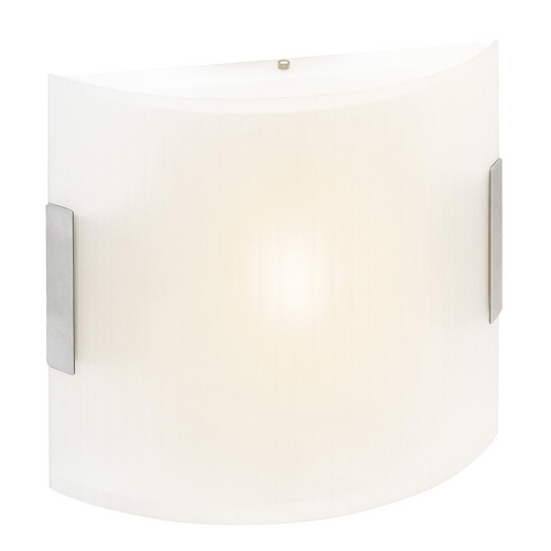 Access Lighting Modern Sconce with White Glass in Brushed Steel Finish 62229-BS/LFR