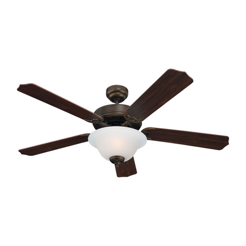 Sea Gull Lighting Ceiling Fan with Light with White Glass in Russet Bronze Finish 15030BLE-829