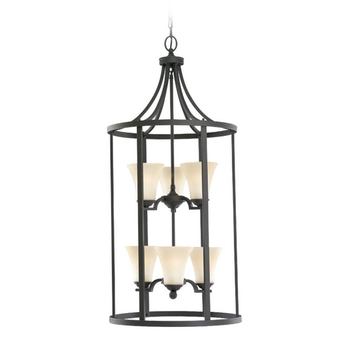 Sea Gull Lighting Pendant Light with Beige / Cream Glass in Blacksmith Finish 51376-839