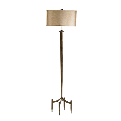 Currey and Company Lighting Floor Lamp with Brown Shade in Dark Bronze Finish 8448