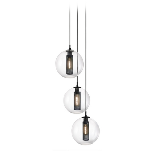 Sonneman Lighting Modern Multi-Light Pendant Light with Clear Glass and 3-Lights 4935.97