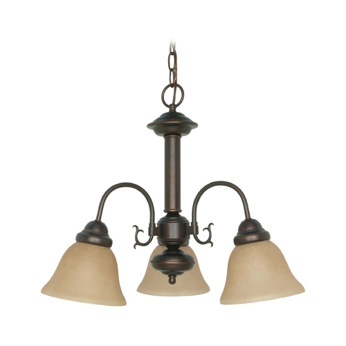 Nuvo Lighting Mini-Chandelier with Beige / Cream Glass in Mahogany Bronze Finish 60/3102