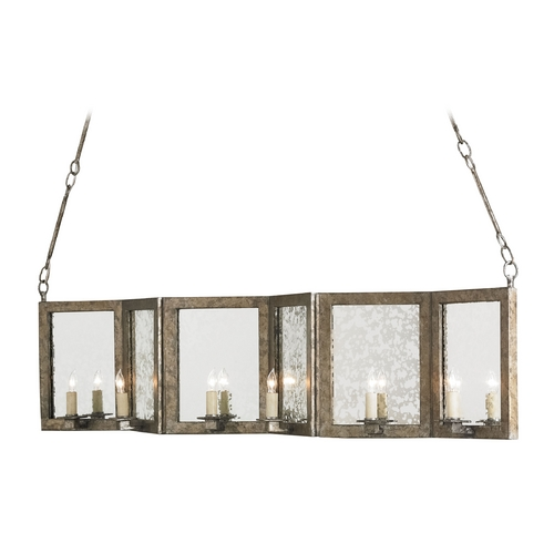 Currey and Company Lighting Currey and Company Lighting Dirty Silver / Antique Mirror Island Light 9517