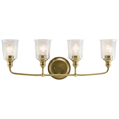 Kichler Lighting Seeded Glass Bathroom Light Brass Kichler Lighting 45748NBR