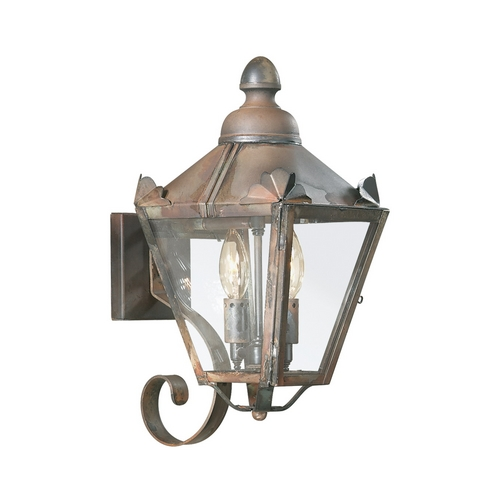 Troy Lighting Outdoor Wall Light with Clear Glass in Natural Rust Finish BCD8940NR