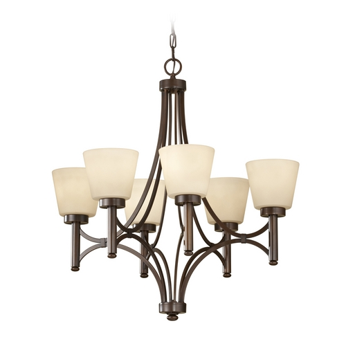 Feiss Lighting Chandelier with Beige / Cream Glass in Heritage Bronze Finish F2670/6HTBZ