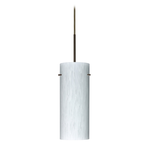 Besa Lighting Modern Pendant Light with White Glass in Bronze Finish 1JT-412319-BR