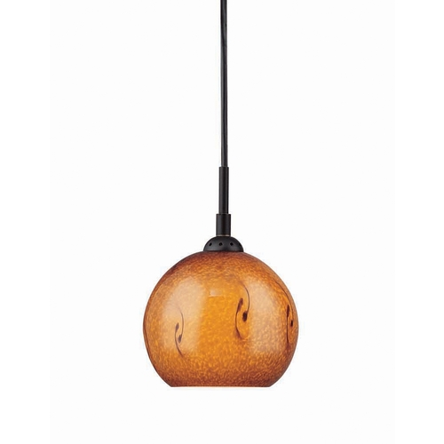 Lite Source Lighting Modern Mini-Pendant Light with Amber Glass LS-19981