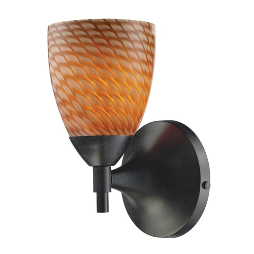 Elk Lighting Elk Lighting Art Glass Sconce Wall Light in Dark Rust Finish 10150/1DR-C