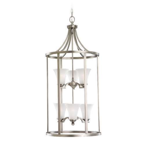 Sea Gull Lighting Pendant Light with White Glass in Antique Brushed Nickel Finish 51376-965