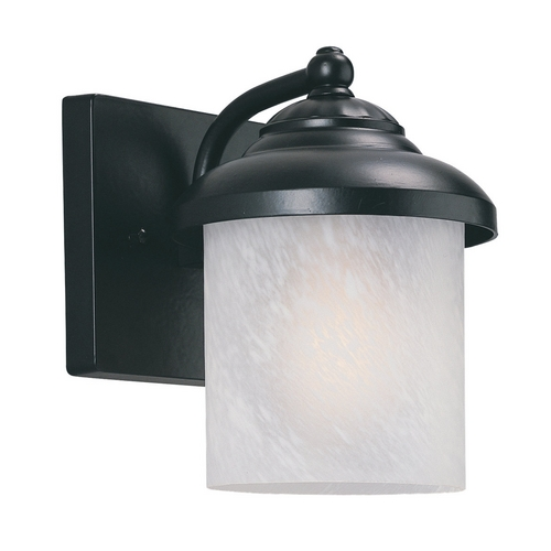 Sea Gull Lighting Outdoor Wall Light with White Glass in Black Finish 89048PBLE-12