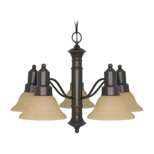 Nuvo Lighting Chandelier with Beige / Cream Glass in Mahogany Bronze Finish 60/3103