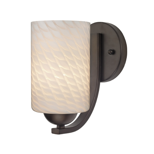 Design Classics Lighting Contemporary Sconce with White Art Glass Cylinder Shade 585-220 GL1020C