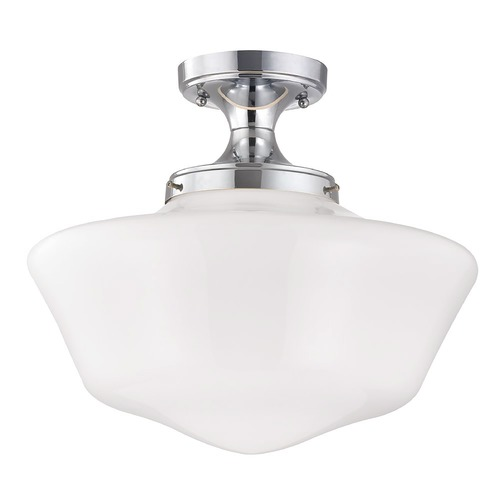 Design Classics Lighting 16-Inch Wide Chrome Finish Schoolhouse Ceiling Light FES-26/ GA16