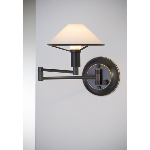 Holtkoetter Lighting Holtkoetter Modern Swing Arm Lamp with White Glass in Hand-Brushed Old Bronze Finish 9426 HBOB TRW